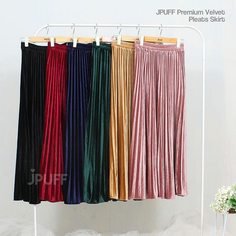 Velvet Pleats Skirt IMPORT ORIGINAL JPUFF