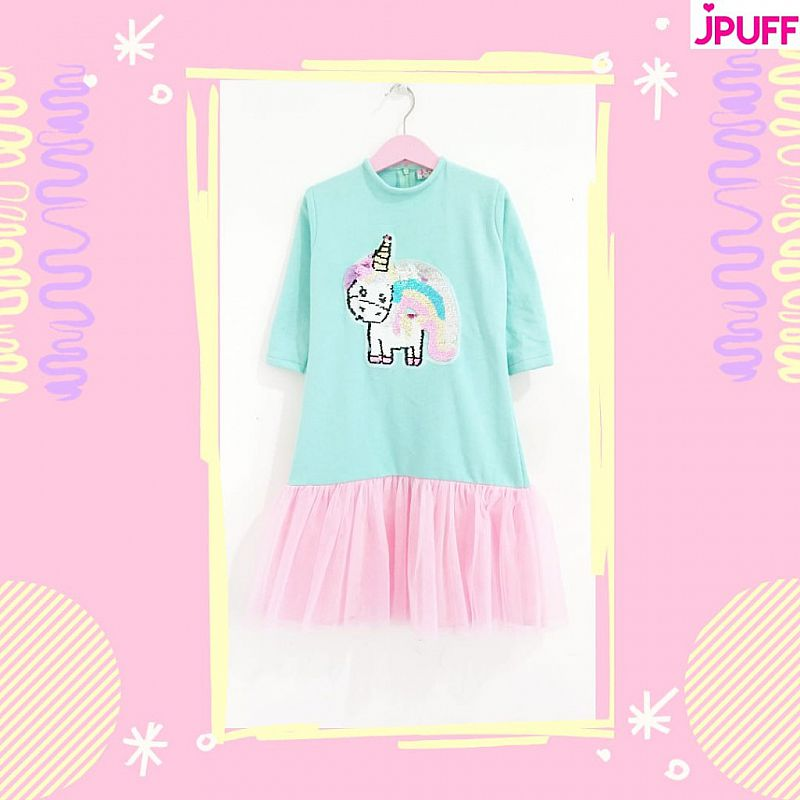 Gamis Dress Tutu Sequin - Minty Pinky Unicorn