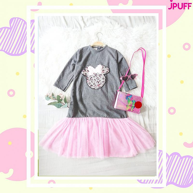 Gamis Dress Tutu Sequin - Drak Grey Pink Mickey Mouse