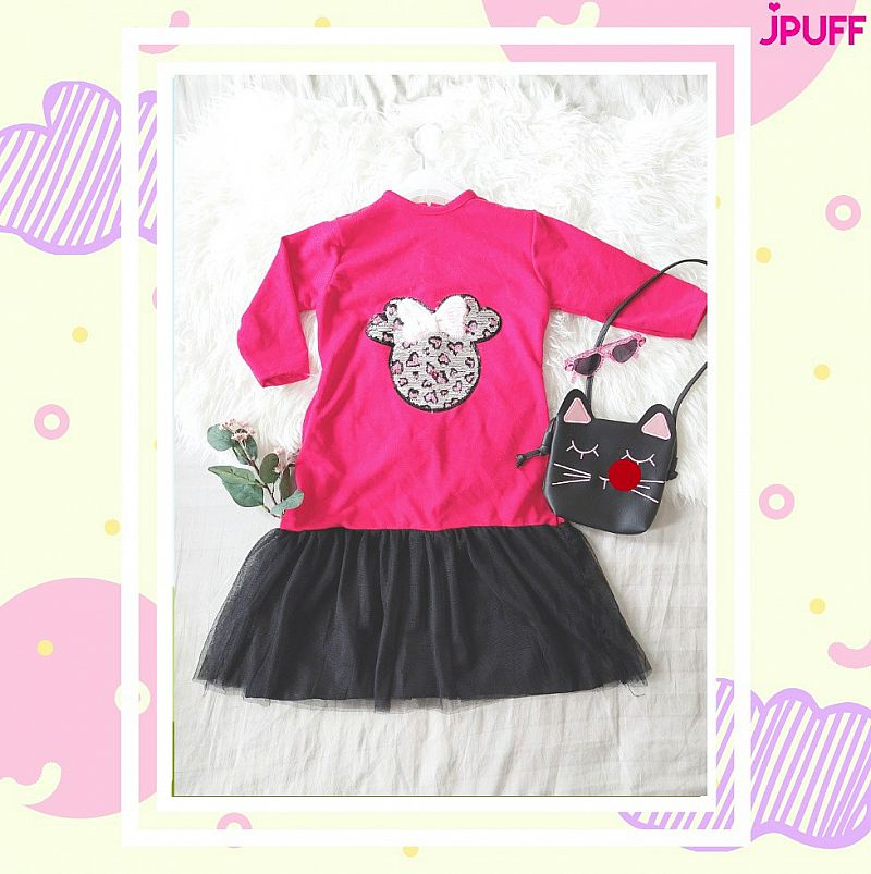 Gamis Dress Tutu Sequin - Red Black Cute Mouse