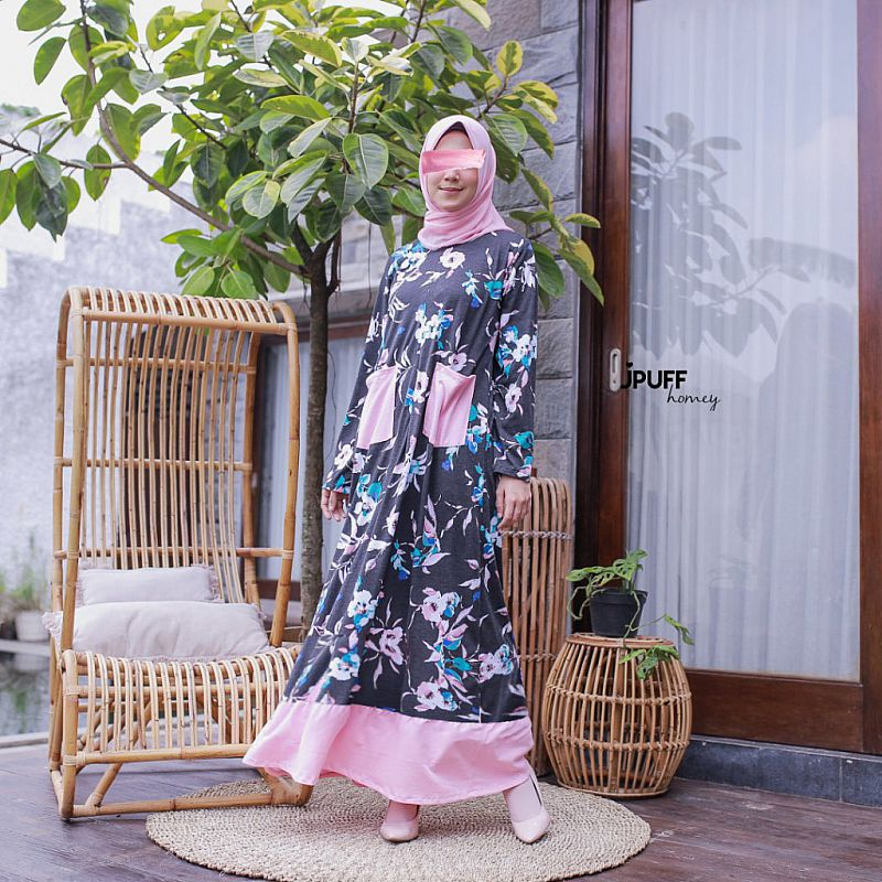 HomeyDress Series #2 - Zahra Dress (Tgn pjg - kombinasi bwh)
